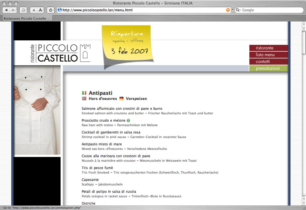 Piccolo Castello website