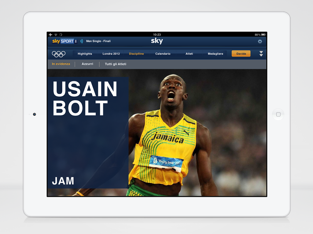 UX/UI design for the Sky Olympics second-screen app
