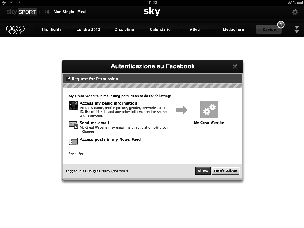 UX/UI wireframes for the Sky Olympics second-screen app