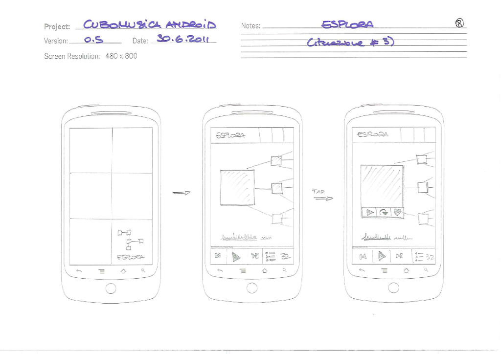 UX/UI design for the Cubomusica Android application
