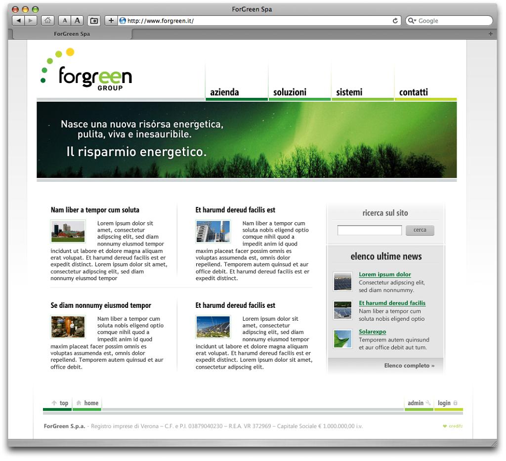 Forgreen website v. 1.0 alternative design