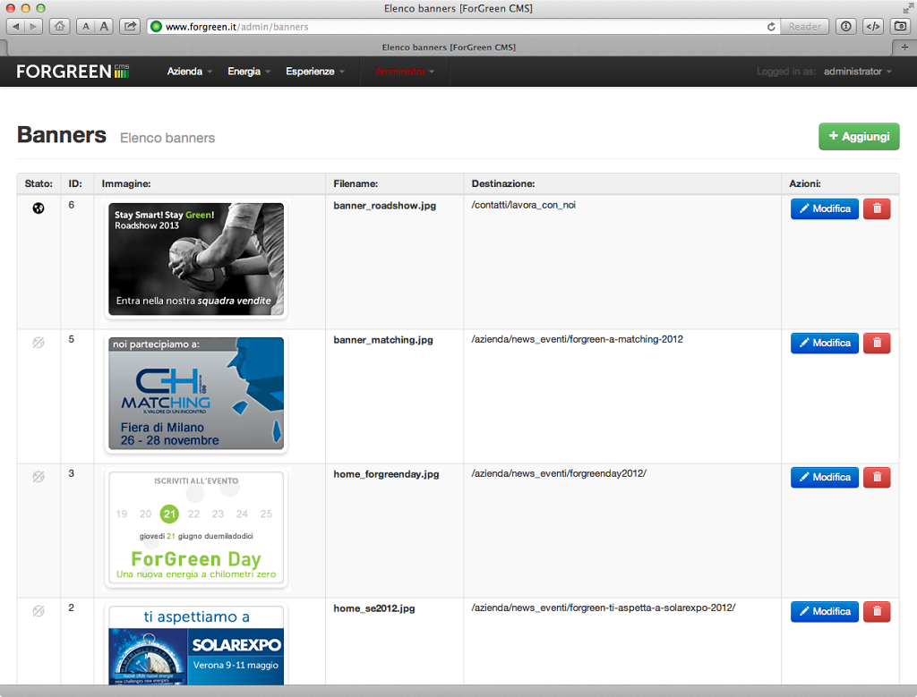 Forgreen website v. 2.0, the custom CMS