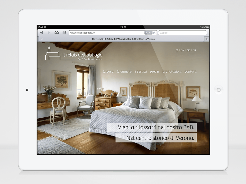 Il Relais dell'Abbazia website on iPad