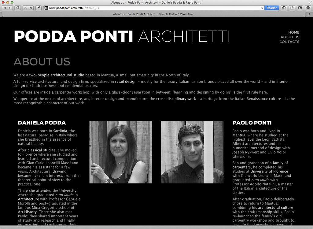 PoddaPonti Architetti website