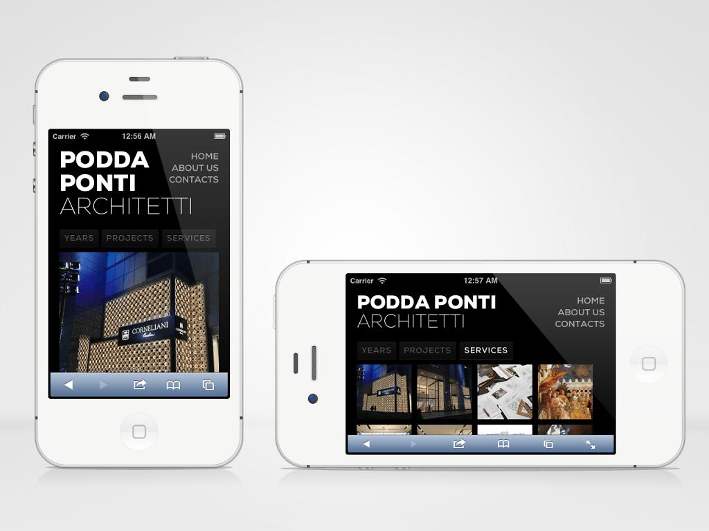 PoddaPonti Architetti responsive website on iPhone