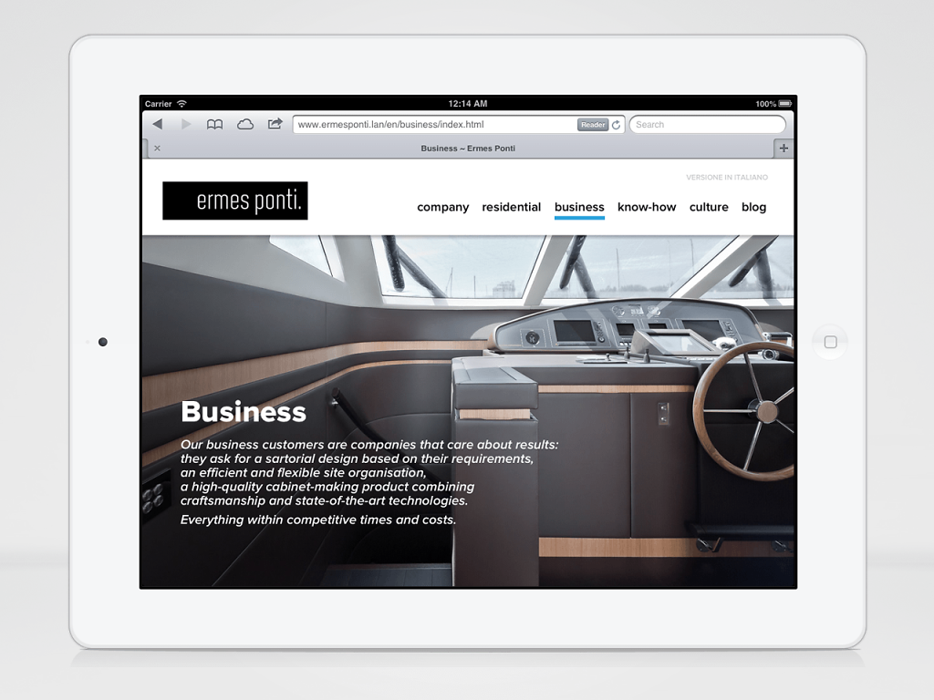 Ermes Ponti responsive website in iPad