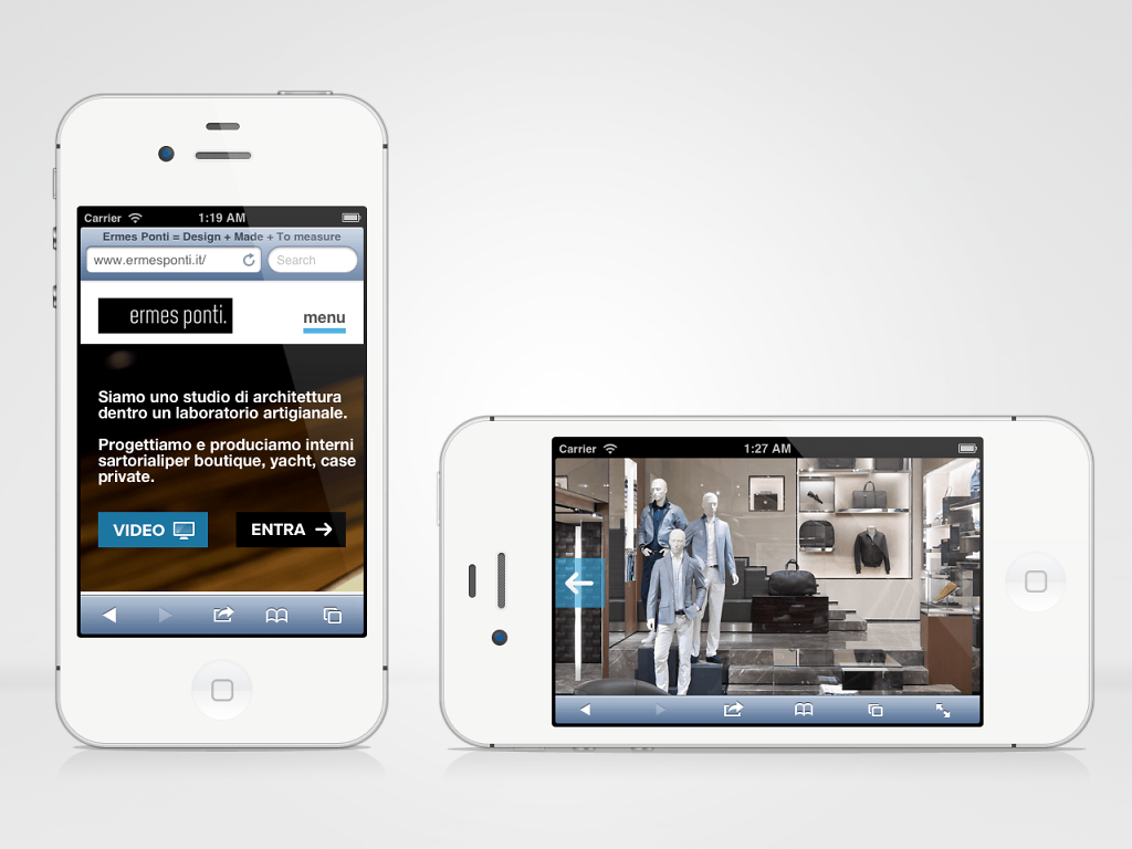 Ermes Ponti responsive website on iPhone
