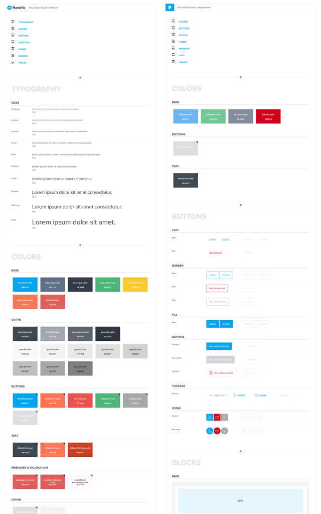 Styleguides for the website and the applications