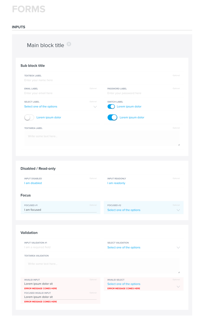 Styleguide for the applications - Forms