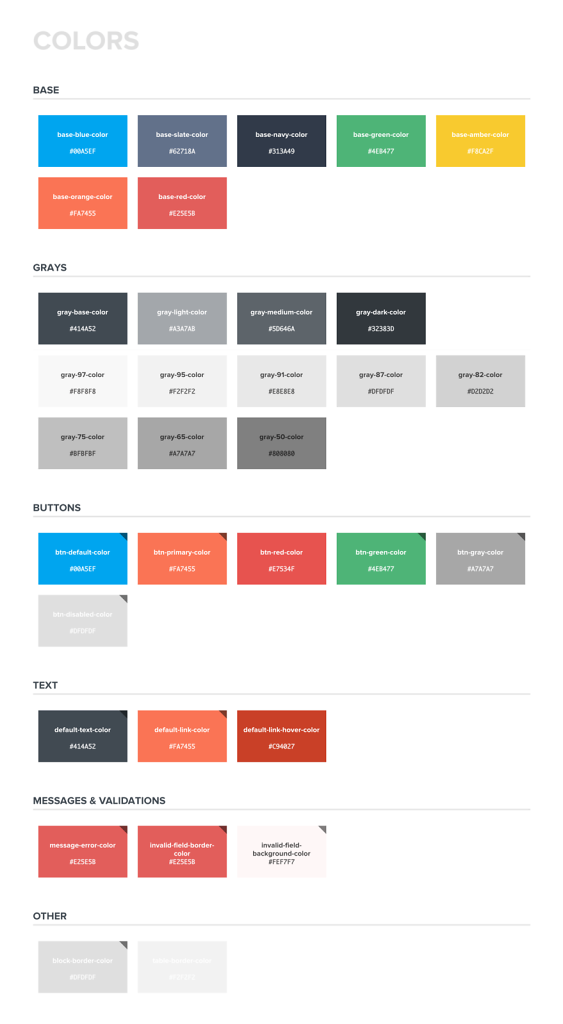 Styleguide for the website - Colors